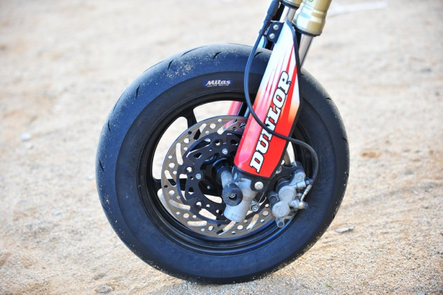 You might see other CRF150R supermotos with 17-inch wheels, but Vollmer and King swear by the 12-inch wheel and Mitas MC35 tire combination, claiming they are more agile and lighter weight than the 17-inch setup.