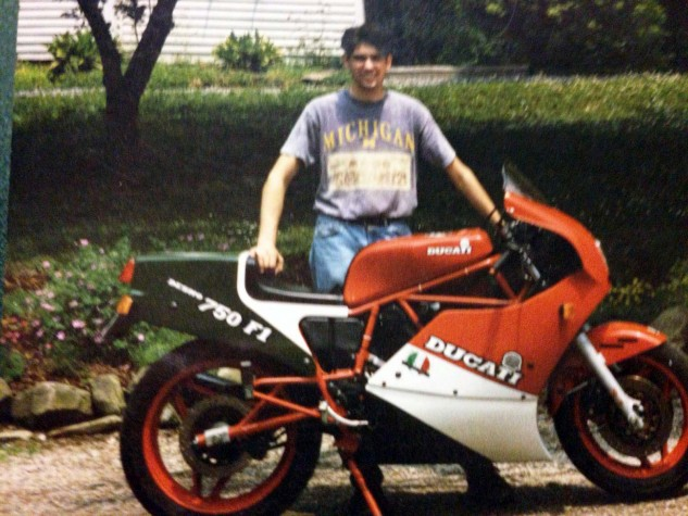 """Sorry, """"high-resolution"""" phone cameras hadn't been invented when Brian Gillen was roadracing Ducatis and RS125 Hondas, also Husqvarnas and KTMs back in the Western New York Sports Committee MX race series. This is the first (of many) Ducatis – a 1986 750 F1B."""