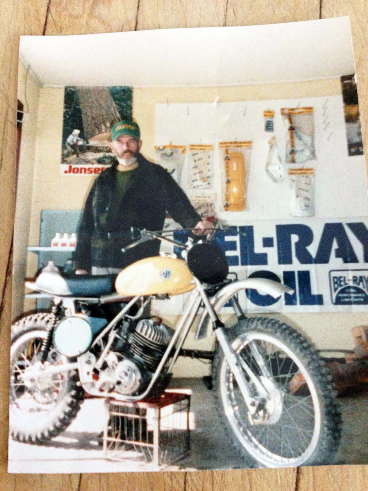 """Al Gillen with his 1973 AJS 410 Stormer. Was Brian Gillen's dad proud? """"He wasn't the type to ever tell you that. But he did tell the rest of the world."""""""