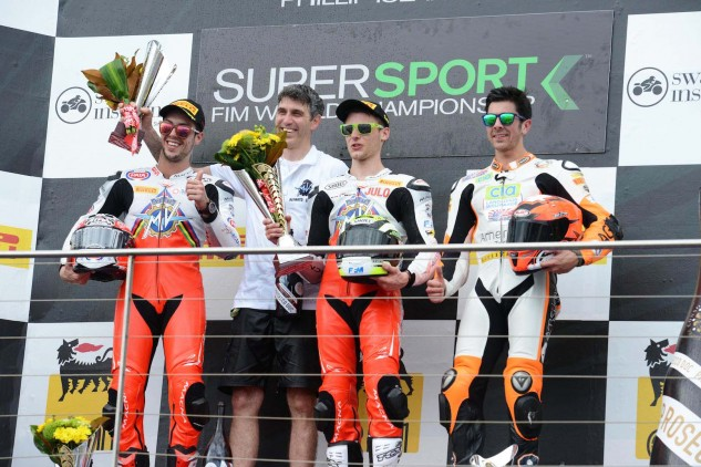 In the WSS 2015 opener in Australia (the year after Jules Cluzel broke MV's 37-year drought) MV finished 1-2 with Cluzel again, and Lorenzo Zanetti (left). This past weekend, Cluzel led the season-opening WSS race before crashing. Dang.
