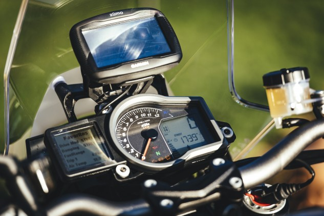 The cockpit is familiar to anyone with recent experience on KTMs, with instrumentation that is eminently readable but lacking the visual pizzazz of modern color gauges. The Garmin GPS is an extra-cost option.