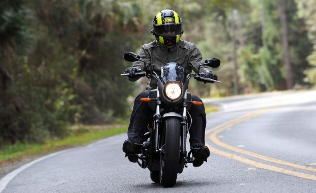 Despite its diminutive size, the cowl helps take wind pressure off the rider's chest up until about 80 mph.