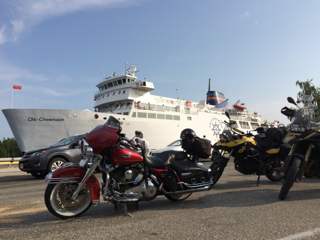 Motorcycles waiting their turn to board the Chi-Cheemaun Ferry.