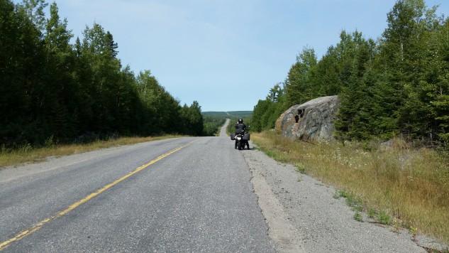 A nice, long downhill straightaway on Highway 672.