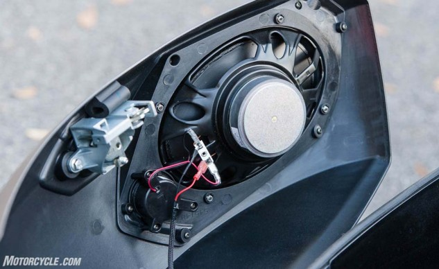 The sound system's only miscue: the wires and speaker in the saddlebag lid appear to be quite vulnerable.