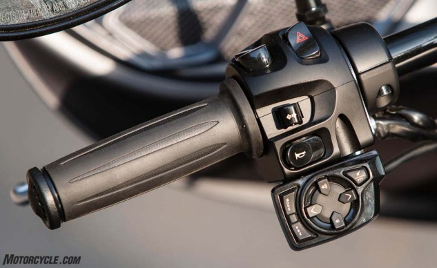 The sound system controls get the job done, but they are clearly tacked on rather than integrated into the switch cluster like premium motorcycles from other brands.