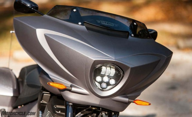 The LED headlight fits Victory's futuristic styling of the Magnum.