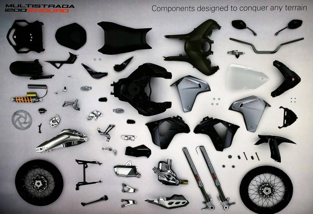 These are some of the 266 parts Ducati changed in the transition from regular Multistrada into Multistrada Enduro.