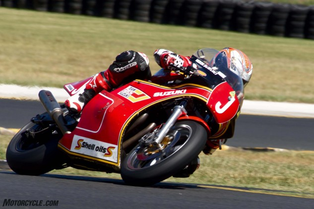 Jeremy McWilliams racing for real on the XR69 in the Barry Sheene Challenge.