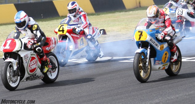 Schwantz gets the holeshot from McWilliams and Spencer