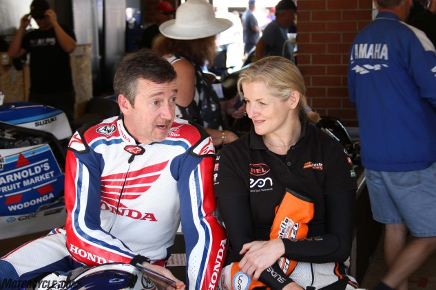 Freddie Spencer and Marie Costello talk bikes.