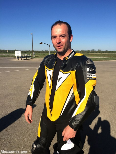 Malte Bigge, former German Superbike ace, is chief tester for all Conti's two-wheel tires, from scooter on up.