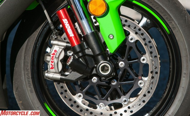 Showa's Balance Free Fork, tech taken from the World Superbike paddock, performed well in both street and track environments, though the Brembo M50 calipers are the stars of this picture.