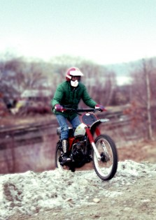 Hatch finally makes his escape from New Jersey on a 1975 Honda CR125.