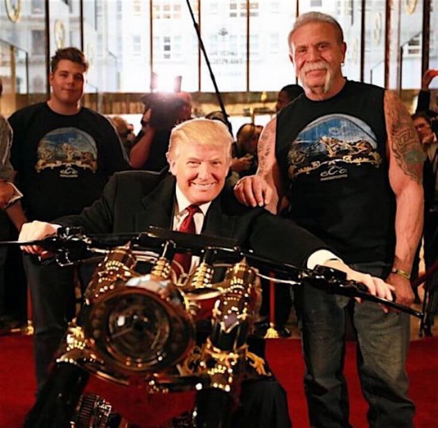 Trump grinds the sidestand of a huge OC Customs chopper onto Paul Teutel's right big toe. No complaints. No losers.