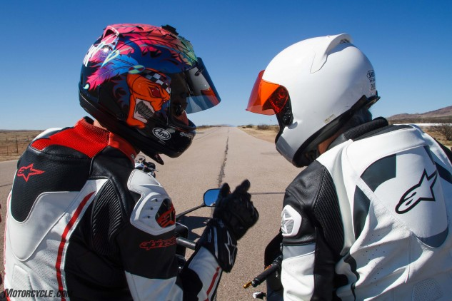 A YCRS student prepares to ride with an instructor recording the lap from his FZ1.