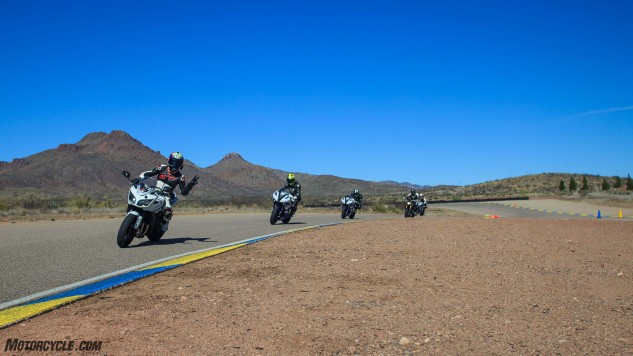 Lead/follow drills in small groups allow each rider to receive intensive instruction.