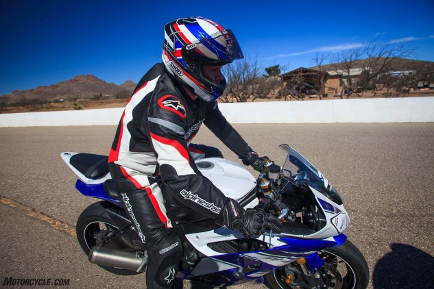 The author gets comfortable aboard a 2016 Yamaha R6.