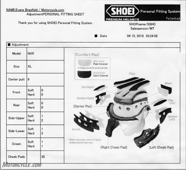 Shoei Persona Fitting System listing