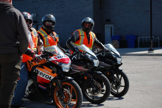 When I went through Humber's motorcycle training program, we used Yamaha V Star 250s. The school has since switched to Honda CBR125Rs.