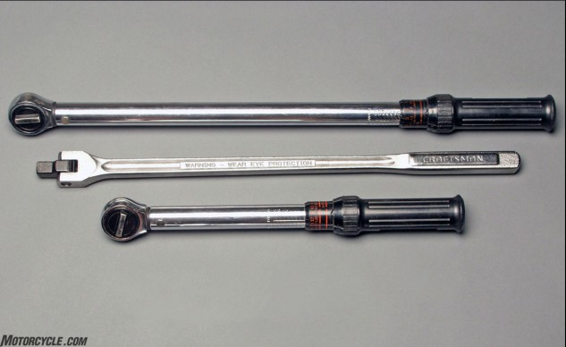 Use a tool for the task for which it was designed. Torque big bolts with a pound-feet-sized torque wrench (top) and little ones with a pound-inch one (bottom). Twist the crap out of a stuck fastener with a breaker bar (middle).