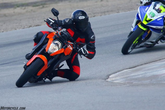 Footpeg clearance was an issue I mentioned during the Super Duke R's media launch at the Ascari Race Resort in late 2013. WP racing suspension and adjustable footpegs from KTM's PowerParts catalog greatly increase cornering clearance. Photo by CaliPhotography.