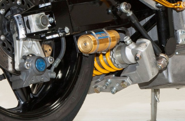 The Ohlins rear shock is custom built for the underslung linkage.