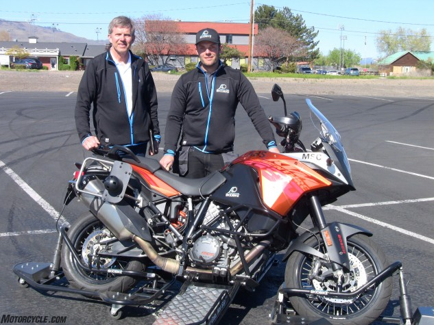 Curt (left) and Anders Cedergren are the father/son dynamic of Cedergrens MEK. The newest addition to the company's Skidbike program is the KTM 1190 Adventure with Bosch ABS, C-ABS and Motorcycle Stability Control systems. Skidbike allows riders to really explore the advantages of these technologies.