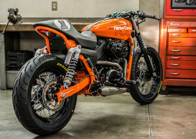 Harley of Macon, Georgia, built the runner-up Street, inspired they say by the '78 Harley MX250 motocross bike, which I did not know existed. Nightster spoke wheels, the right shade of orange paint and powdercoat, clip-on handlebars, a modified frame and chain conversion complete the transformation. I'd ride it, you? Listen to it here.