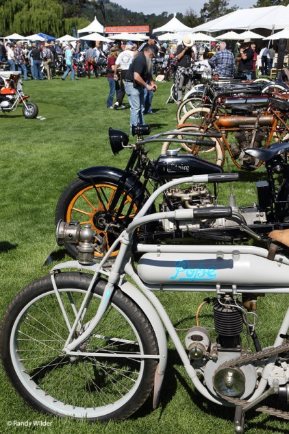 Row of Pre-1916 motorcycles.