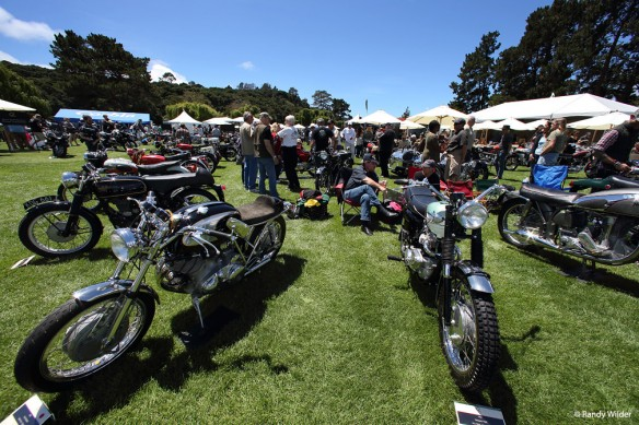 Motorcycles on the lawn at the Quail Motocycle Gathering 2016.