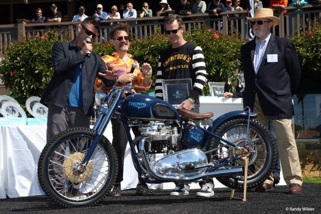Brian Fuller and Paul Dorleans present 1st place award for Custom/Modified to Bryan Thompson for his 1952 Triumph Thunderbird.