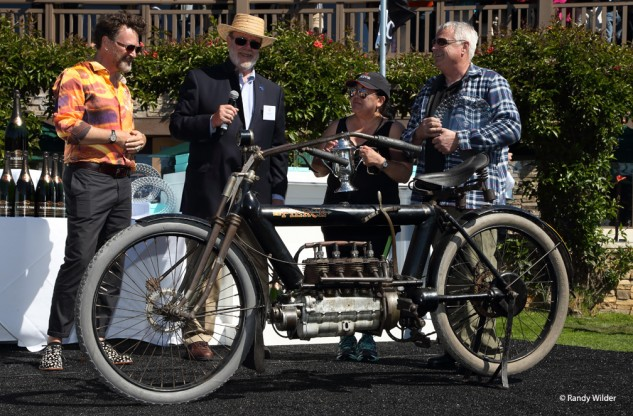 1910 Pierce Four, winner of the Pre-1916 Motorcycles class at the Overview of the Quail Motocycle Gathering 2016.