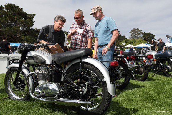 Judging a 1953 Triumph at the Overview of the Quail Motocycle Gathering 2016.