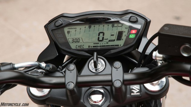 The gauge cluster is all digital on the 2017 SV and contains a bar-graph tach, fuel gauge, and gear-position indicator. The SV also features an SDS II diagnostic system, the most advanced self-contained diagnostic unit on a Suzuki to date (expect it to trickle down to other Suzukis). Among its many features, a technician can plug in to the SDS II, start the bike, and data from various sensors can be displayed and graphed in realtime to help diagnose any problems.