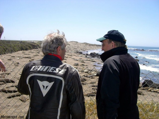 Ago and Phil at the Sea Lion Breeding thing on the Pacific coast. Phil is either about to make an important point regarding the 1966 Swedish GP or just did.