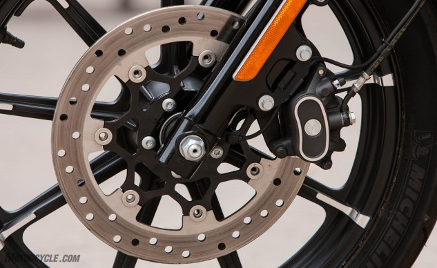 Both bikes' two-piston slide-type calipers and single discs are perfectly adequate, but the Iron is the only one that offers ABS as a $795 option.