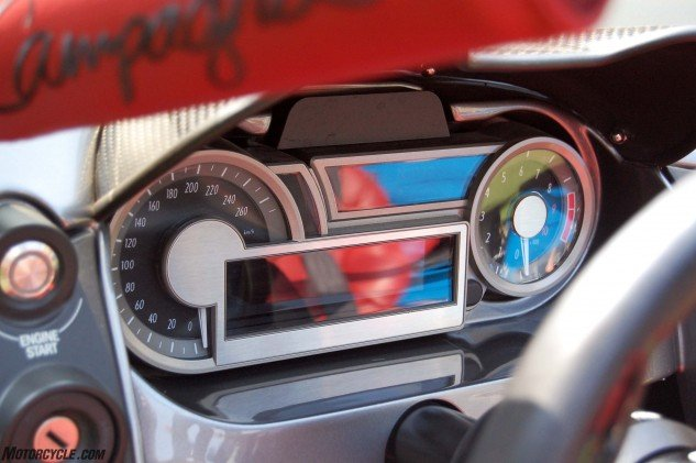 The instrument panel should be familiar to anyone who has ridden a K1600. It's the exact same unit, only customized with Campagna graphics and settings.