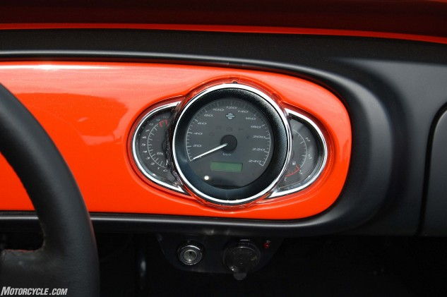 The V13R's instrument cluster is mounted in the middle of the car and can be difficult to read from the driver's perspective.