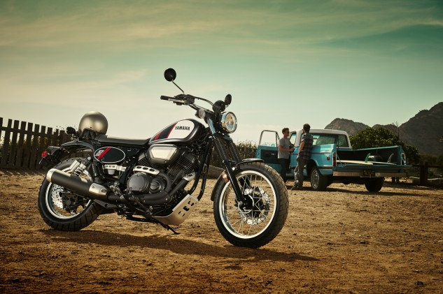 Any resemblance to a Yamaha XT500 is purely intentional. The SCR950 boasts the same 3.2-gallon seamless fuel tank as the other 2017 Bolts. The fork might look too raked out for a proper scrambler, but Yamaha test riders claim the SCR is surprisingly light on its feet, even compared to Triumph's Scrambler. The aluminum bash plate pictured here is an optional accessory, of which there are about 30 available for the SCR.