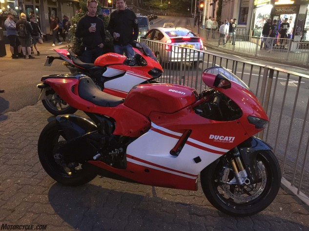 A Ducati Desmosedici and Superleggera on the Douglas Promenade.