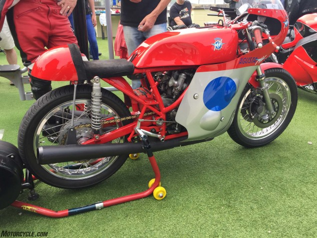 A vintage MV Agusta three-cylinder race bike at Peel Bike Show.