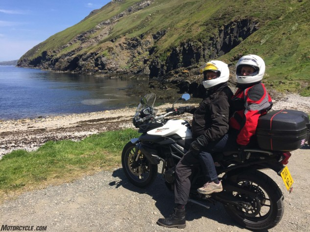 Peter and Gill Thompson from Llandudno, Wales on their Triumph Tiger at Fleshwick Bay near Port Erin, Isle of Man.