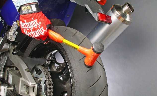 If you tighten the chain too much, back the adjusters off two full turns and bang the wheel forward until the axle mates with the adjusters, then start over.