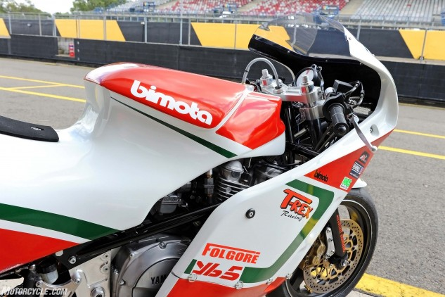 Amazing bodywork by T-Rex painted in Bimota colors.