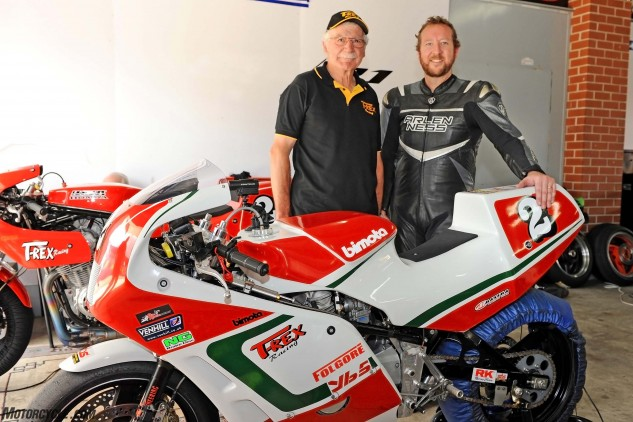 As well as testing the bike for <i>MO</i> Ware helped Rex Wolfenden with some feedback for the weekend set-up for rider Chas Hern, who went on to win the Barry Sheene Festival Of Speed that weekend.