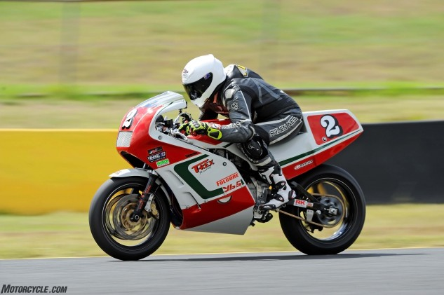 Tucked in at the Eastern Creek front chute approaching the 165-mph mark, not far off a modern superbike.