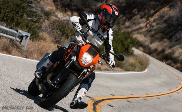 The 690 Duke was made to carve a twisty road. Its wide, MX-style bars make the 345-lb Duke feel like a toy underneath you.