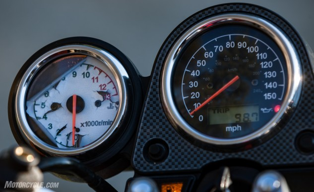Despite the backing coming off from the 1999 SV650's tach, there's something special about the simplicity and functionality of a pair of analog gauges.