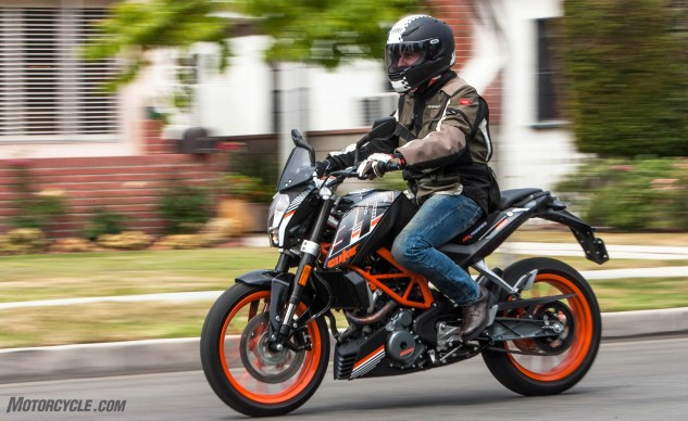 Few would guess this attractive street machine retails for less than $5,000. The windscreen seen in this photo is from KTM's PowerParts division, which replaced the teeny little stock deflector to provide a modicum of wind protection for $40.